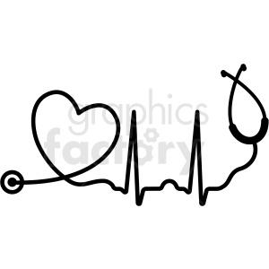 Set heart stethoscope ekg. Heartbeat clipart file