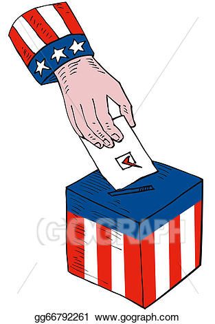 Drawing american voting box. Election clipart ballot