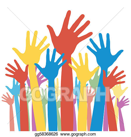 Voting clipart general election. Vector illustration hands stock