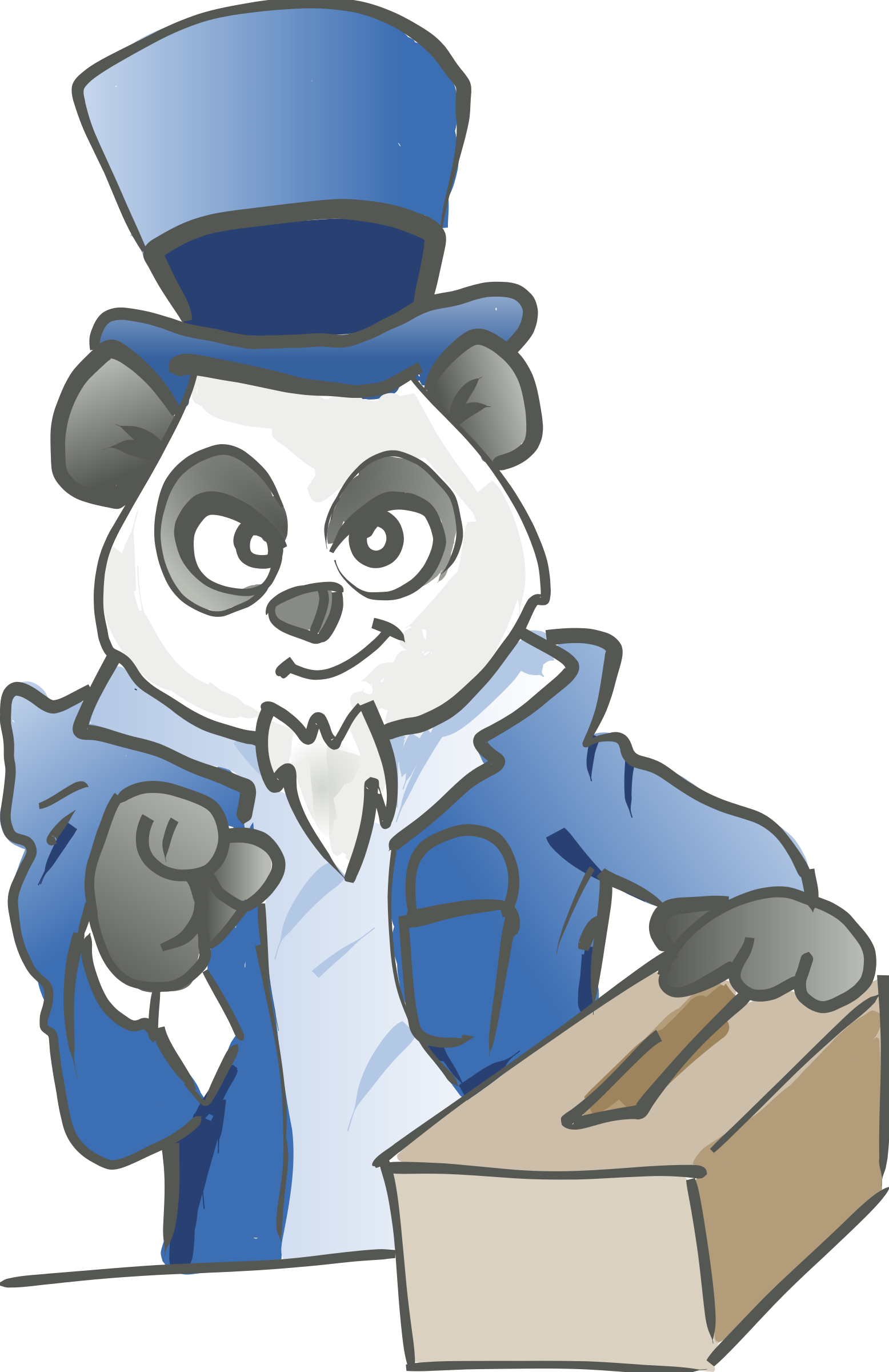 Election panda. Pointing clipart voting