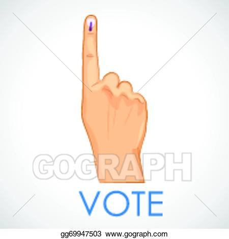 Vector art with sign. Voting clipart hand