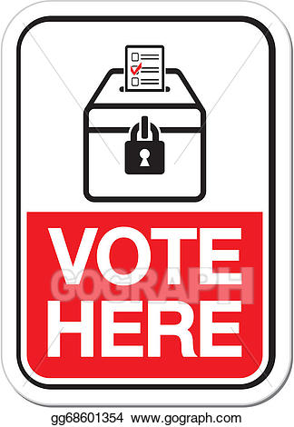 Voting clipart polling place. Vector illustration sign vote