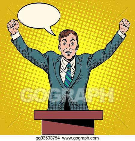 Vector art speaker candidate. Election clipart president podium