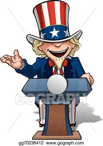 Vector illustration uncle sam. Election clipart president podium
