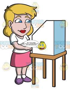 Election clipart woman. A female citizen casting