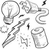 Electrical pencil in color. Electric clipart black and white