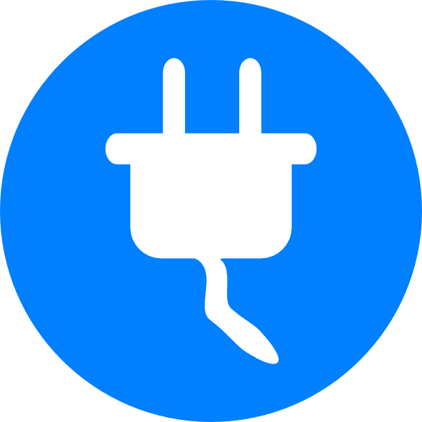 Blue electricity symbol clip. Electric clipart computer