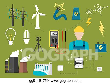 Vector stock electricity engineering. Electric clipart electrical engineer