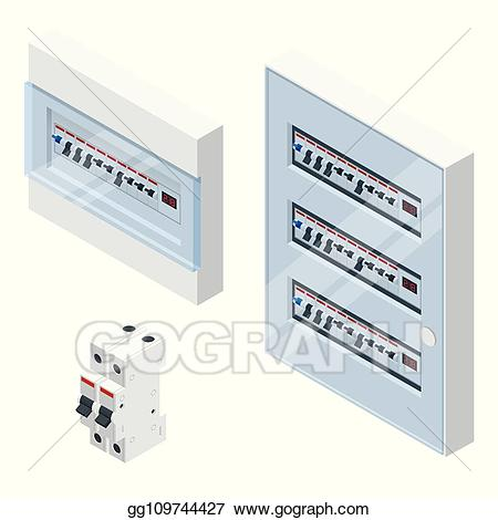 Vector art isometric with. Electric clipart electrical panel