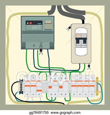 Vector art shield drawing. Electric clipart electrical panel