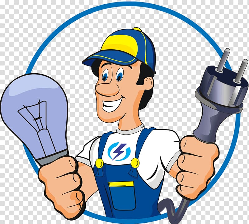 Man holding bulb and. Electrician clipart electrical installation