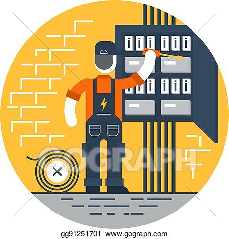 Vector stock worker with. Electrical clipart electrical repair