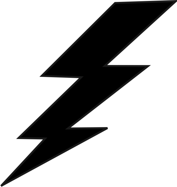 Lightning bolt black and. Electric clipart thunderbolt