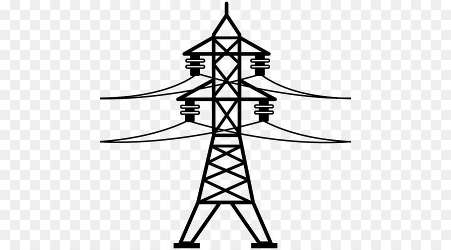 Tower clipart power tower. Electricity symbol tree line