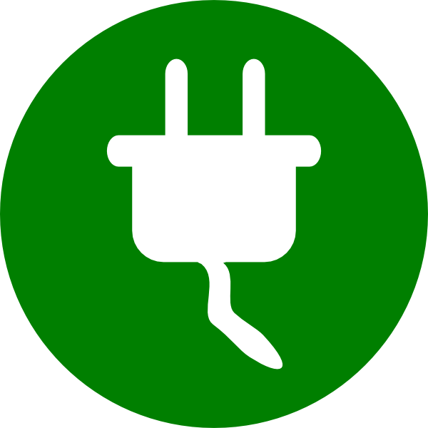 Green electricity symbol clip. Electric clipart wall outlet