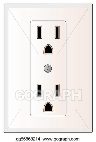 Drawing electrical power . Electric clipart wall outlet