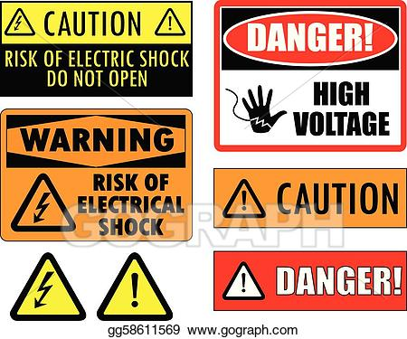 Vector art safety signs. Electrical clipart warning