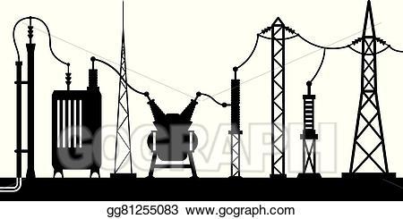 Electrical clipart. Vector art substation scene