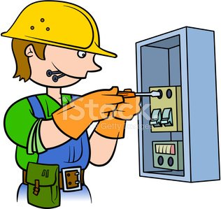 Electrical clipart electrical panel. Electrician repairing an premium