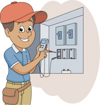 Electrical clipart electrical panel. Electrician wokring on portal