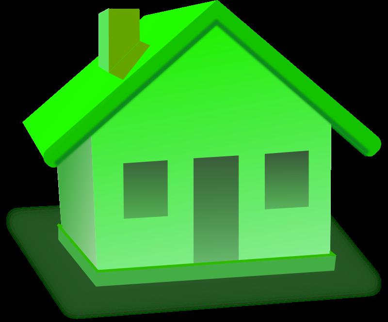 Solar energy power grid. Houses clipart green