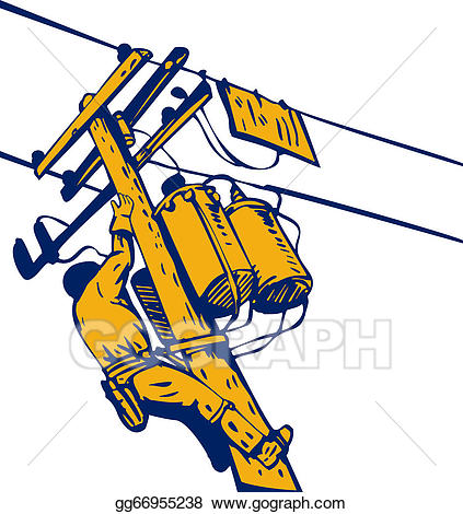 Electrical clipart telephone lineman. Drawing power repairman electrician
