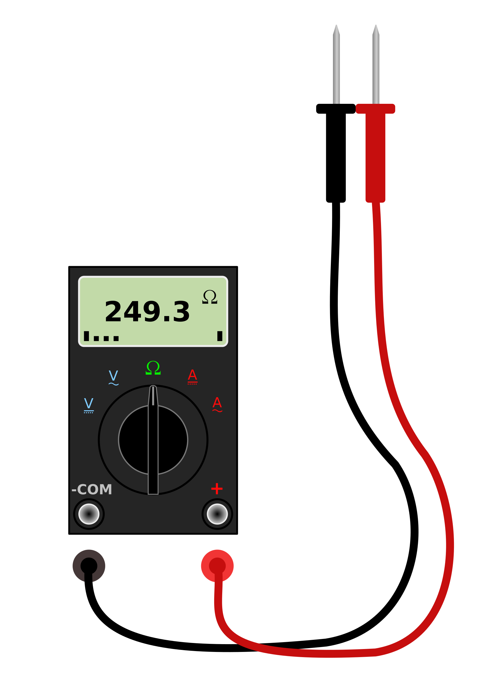 Digital multimeter with leads. Electronics clipart voltmeter