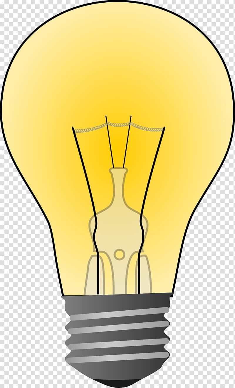 Incandescent lamp transparent . Electrical clipart yellow light bulb