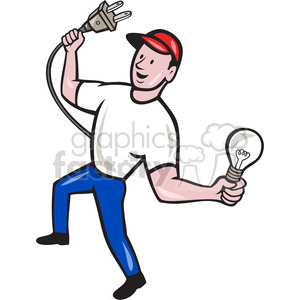 Royalty free holding bulb. Electrician clipart