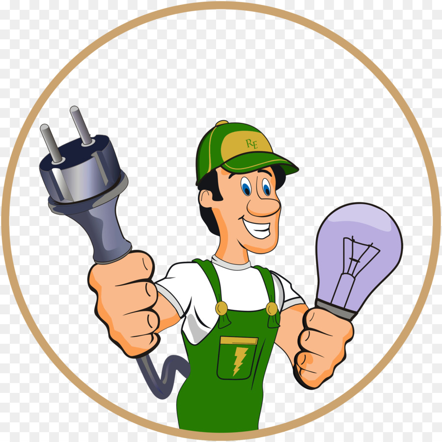 Electricity electrical contractor advertising. Electrician clipart