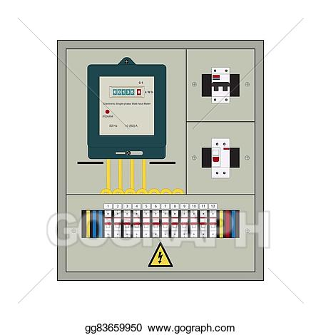 Vector illustration electrical box. Electrician clipart breaker panel
