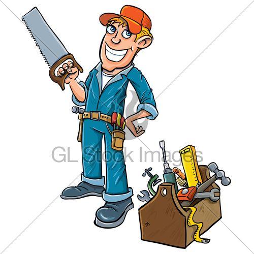 Cartoon with toolbox gl. Gardener clipart handyman