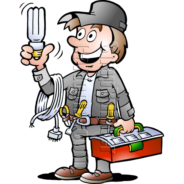 Electrician handyman with electrical. Tool clipart handy man