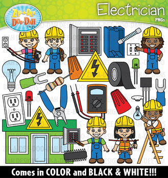 Electrician clipart kid. Community helpers zip a