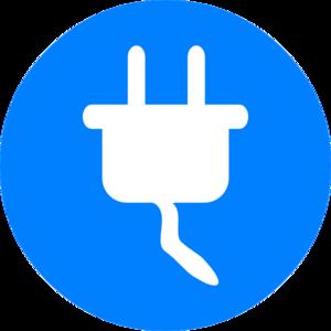 Electricity clipart. Blue symbol clip art
