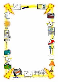 Themed a page borders. Electricity clipart border