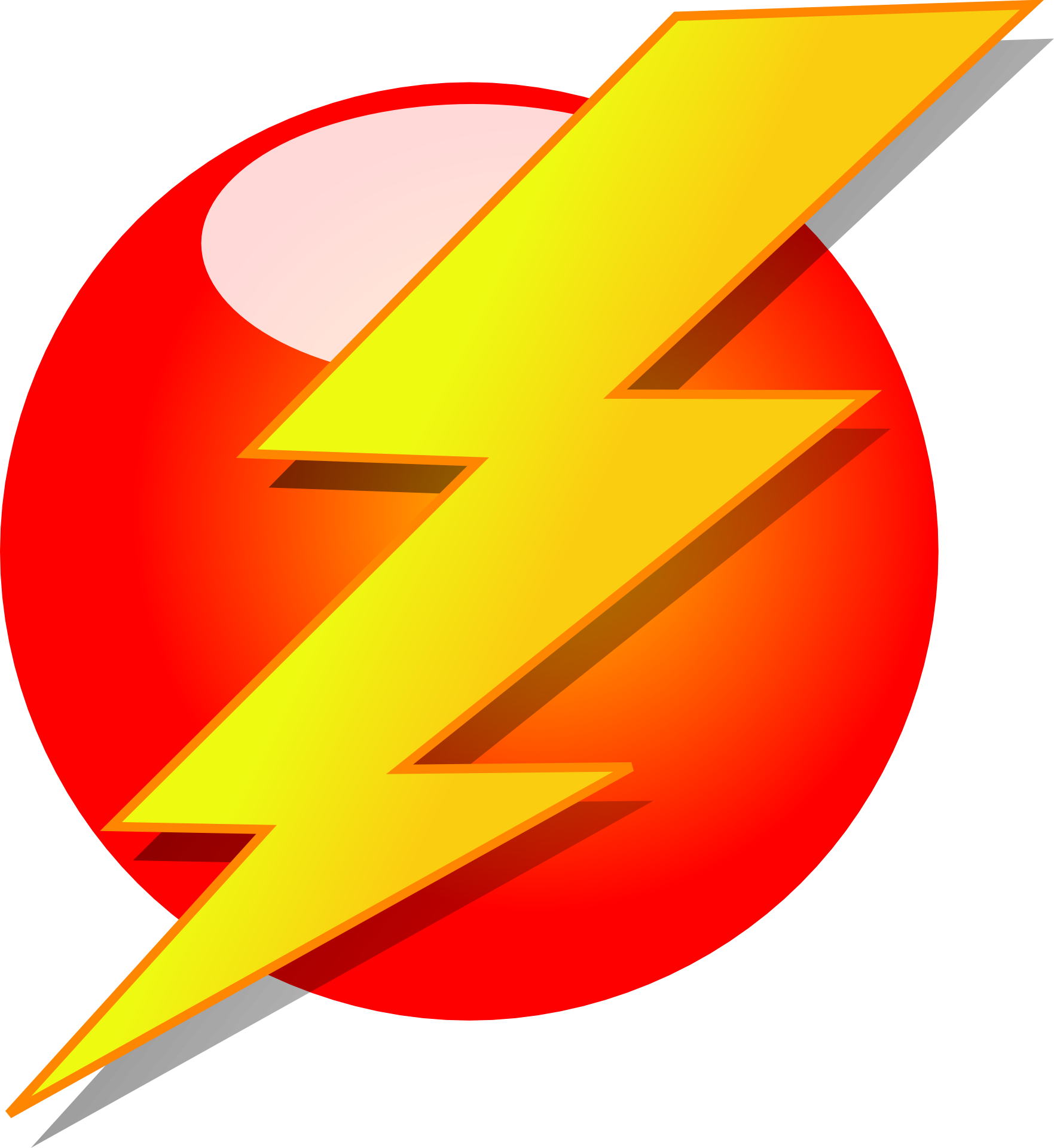 Electricity electric power symbol. Lightning clipart red yellow