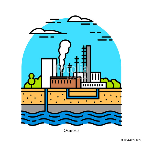 Osmotic plant blue energy. Electricity clipart power house