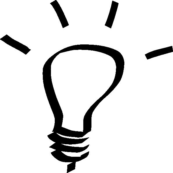 lightbulb clipart black and white