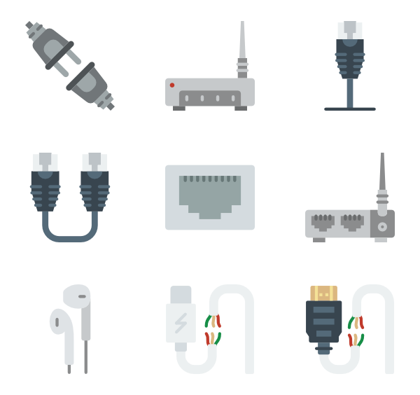 Icons free vector connectors. Electronics clipart network cable