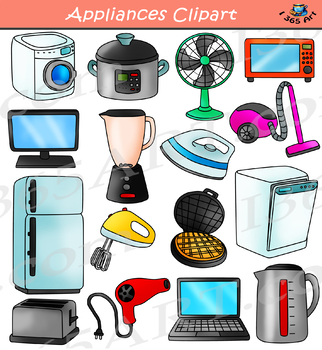 Electronics clipart. Appliances household set by