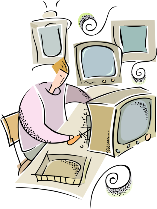 Repairman repairs tv vector. Electronics clipart broken electronics