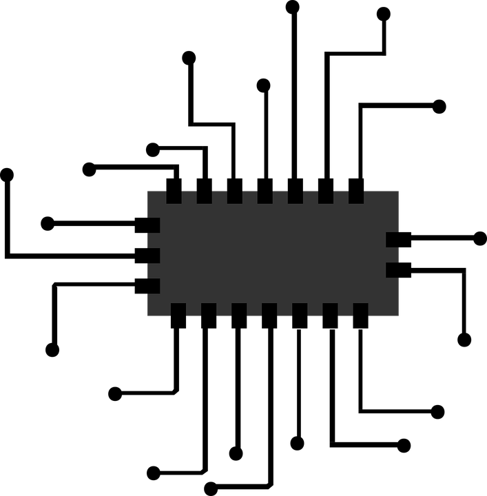 Cpu png black and. Electronics clipart computer chip
