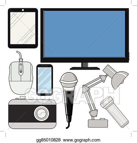 Electronics clipart consumer electronics. Vector illustration set of
