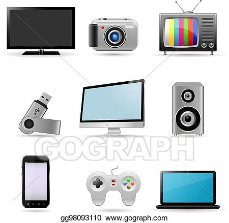 Vector art devices icons. Electronics clipart digital device