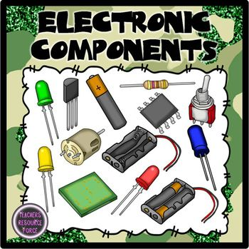 Components and circuit symbols. Electronics clipart electronic component