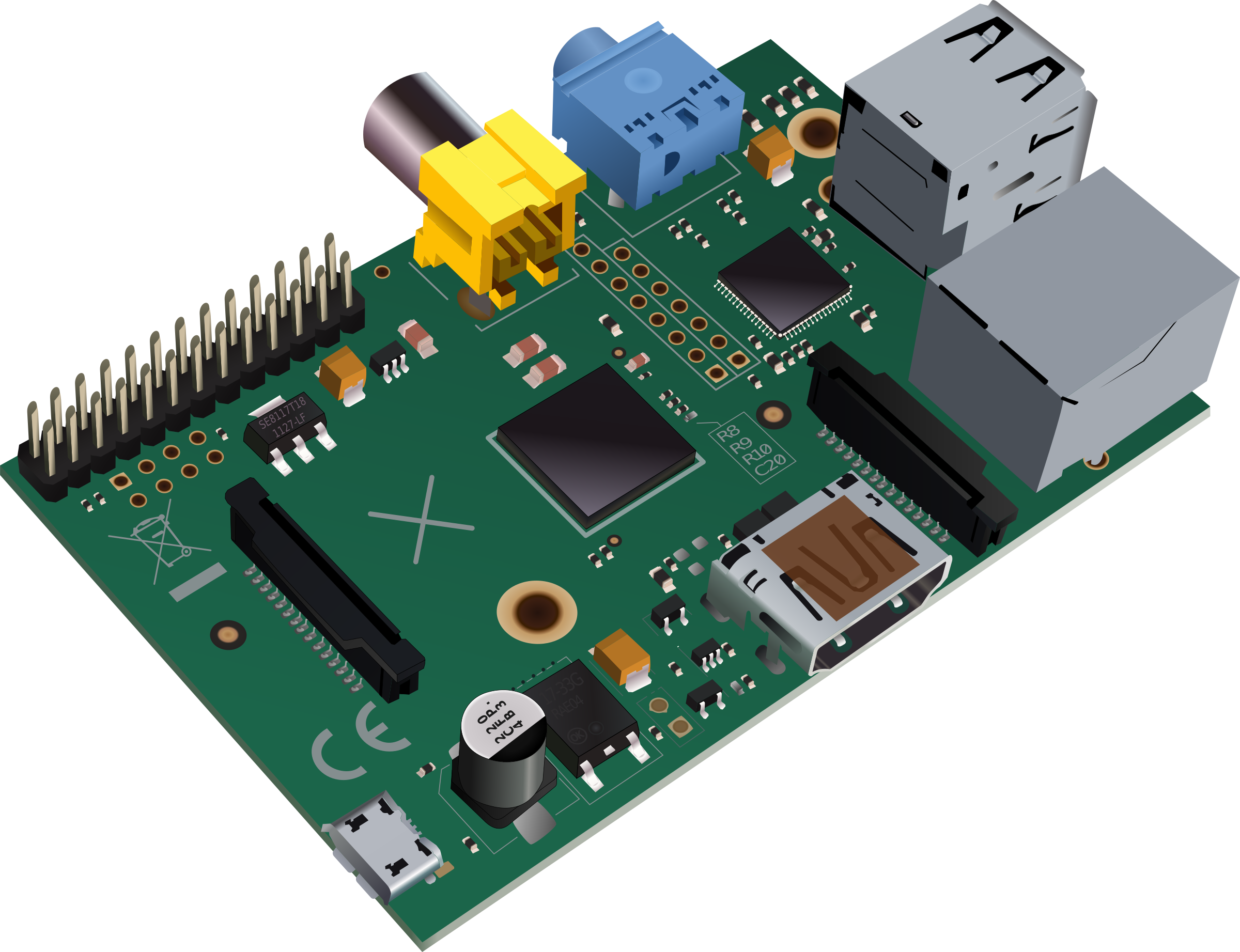 Electronics clipart electronic component. Raspberry pi type b