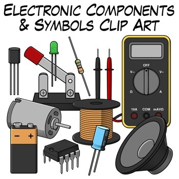 Components and symbols clip. Electronics clipart electronic component