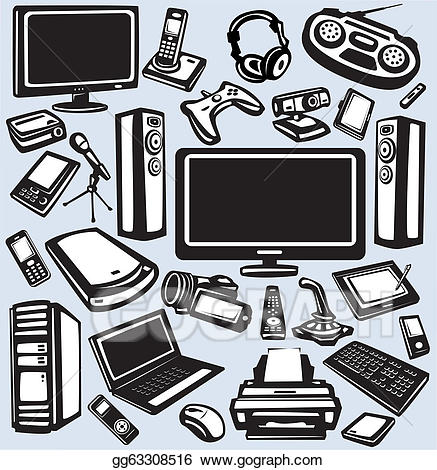 Vector illustration and computers. Electronics clipart electronic payment