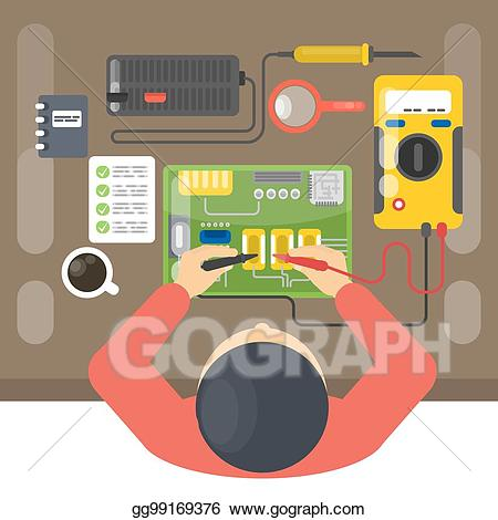 Electronics clipart electronics repair. Vector illustration man eps